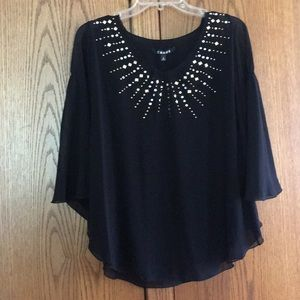 NWT Chaus sheer black beaded top. Size S